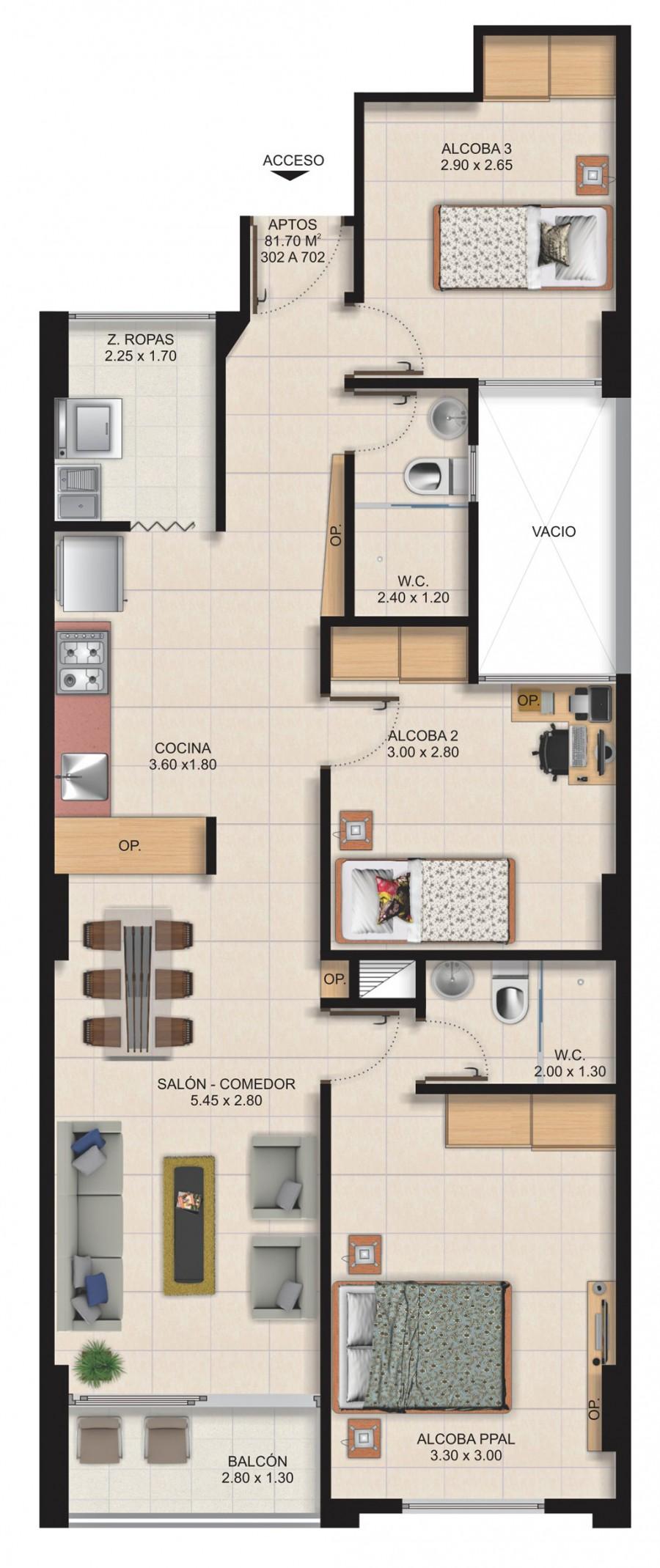 Planta Típica Apartamento Tipo B (81.70m2) Apartamentos San Arcangel