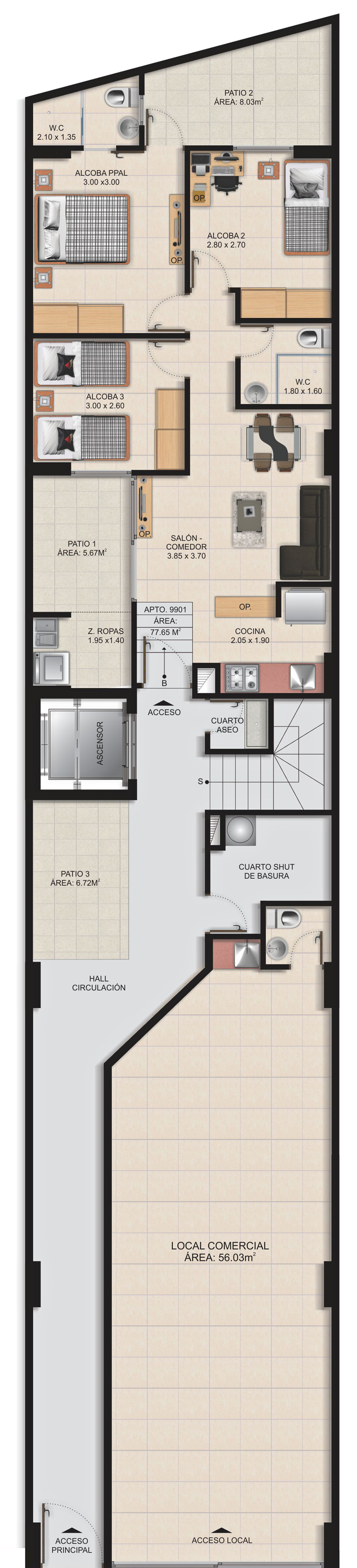 Planta Típica Áreas Comunes Apartamentos San Arcangel