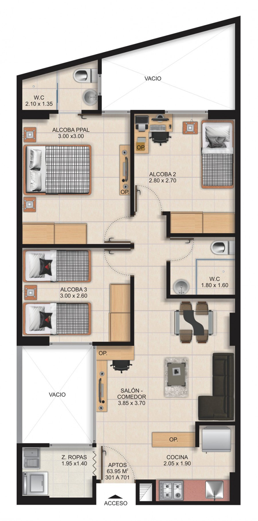 Planta Típica Apartamento Tipo A (63.95m2) Apartamentos San Arcangel