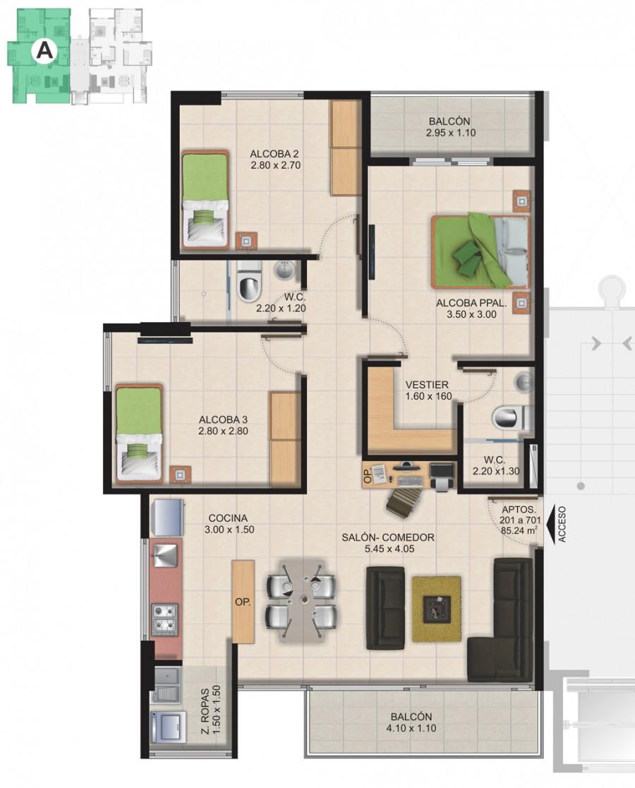 Planta Típica Apartamento Tipo A (85.24m2) Conjunto Residencial Brisas Del Rio