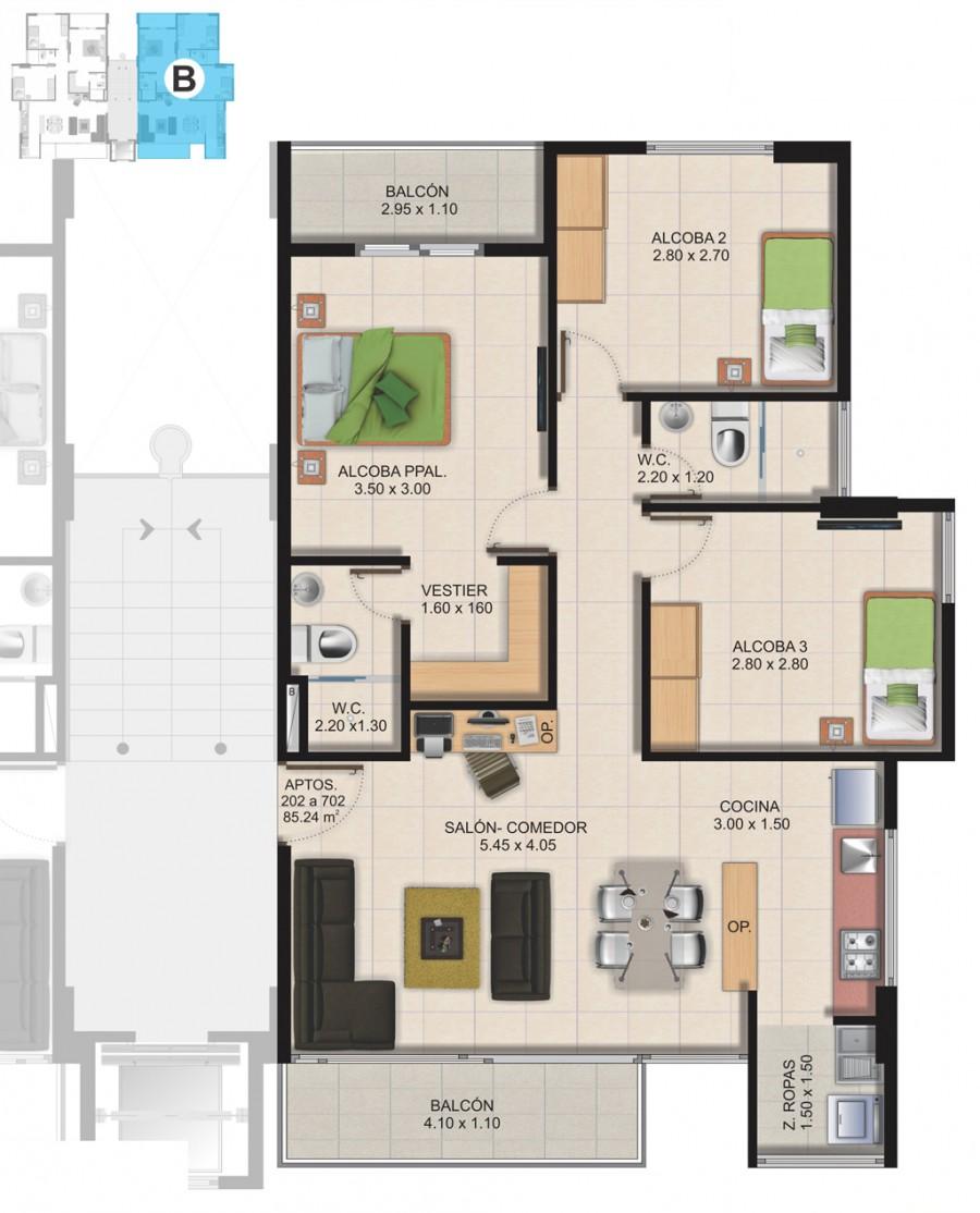 Planta Típica Apartamento Tipo B (85.24m2) Conjunto Residencial Brisas Del Rio