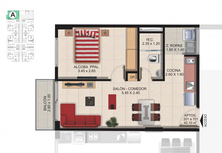 Planta Típica Apartamento Tipo A (42.10m2) Conjunto Residencial Brisas Del Rio