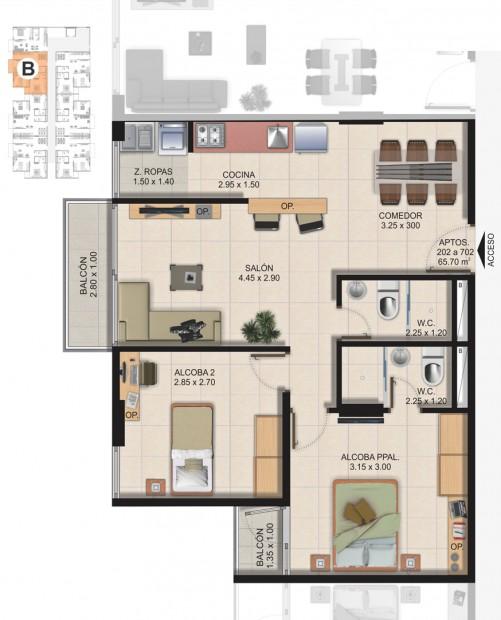 Planta Típica Apartamento Tipo B (65.70m2) Conjunto Residencial Brisas Del Rio