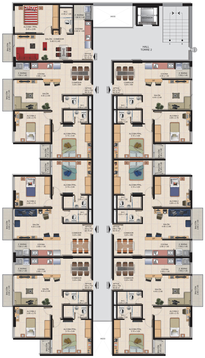 Planta Típica Torre 2 (2ª etapa) Conjunto Residencial Brisas Del Rio