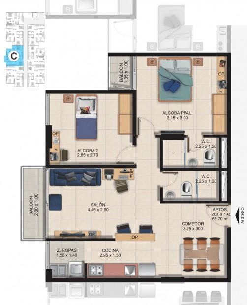 Planta Típica Apartamento Tipo C (65.70m2) Conjunto Residencial Brisas Del Rio