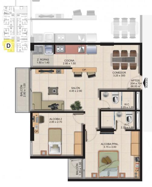 Planta Típica Apartamento Tipo D (66.00m2) Conjunto Residencial Brisas Del Rio