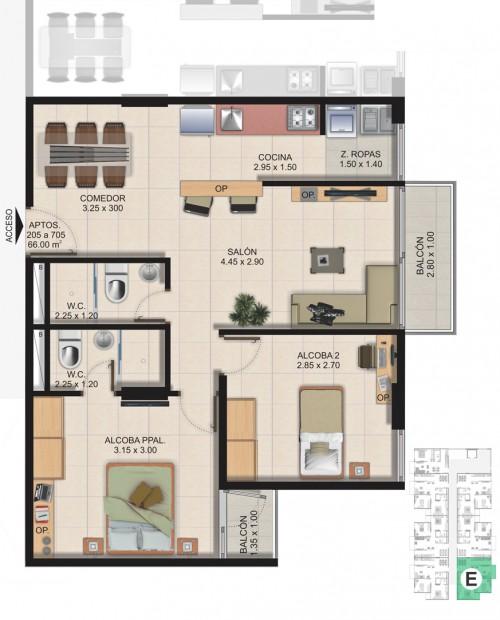 Planta Típica Apartamento Tipo E (66.00m2) Conjunto Residencial Brisas Del Rio