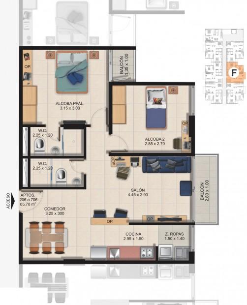 Planta Típica Apartamento Tipo F (65.70m2) Conjunto Residencial Brisas Del Rio
