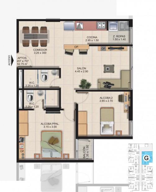 Planta Típica Apartamento Tipo G (62.75m2) Conjunto Residencial Brisas Del Rio