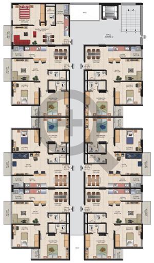 Planta Típica Torre 2 Conjunto Residencial Brisas Del Rio